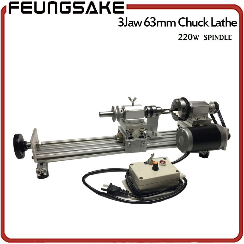 3 claw 63mm chuck 220w spindle Mini Lathe Beads Machine Polisher,circle wood 3 jaw customize clamp length,DIY Wood Lathe Cutter
