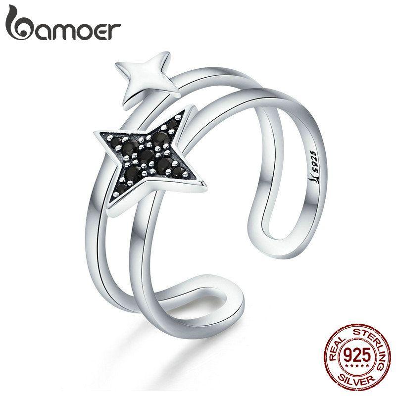 BAMOER 100% Authentische 925 Sterling Silber Funkelnden Licht Doppel Schichten Öffnen Größe Finger Ring für Frauen Partei Schmuck SCR345
