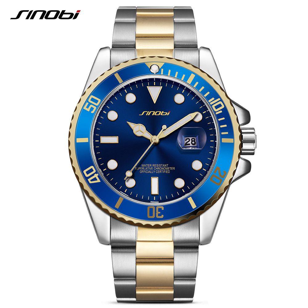SINOBI Casual Men Watch 2017 Waterproof Date Stainless Steel Band Luxury Mans Sports Quartz Watches Golden relogio masculino