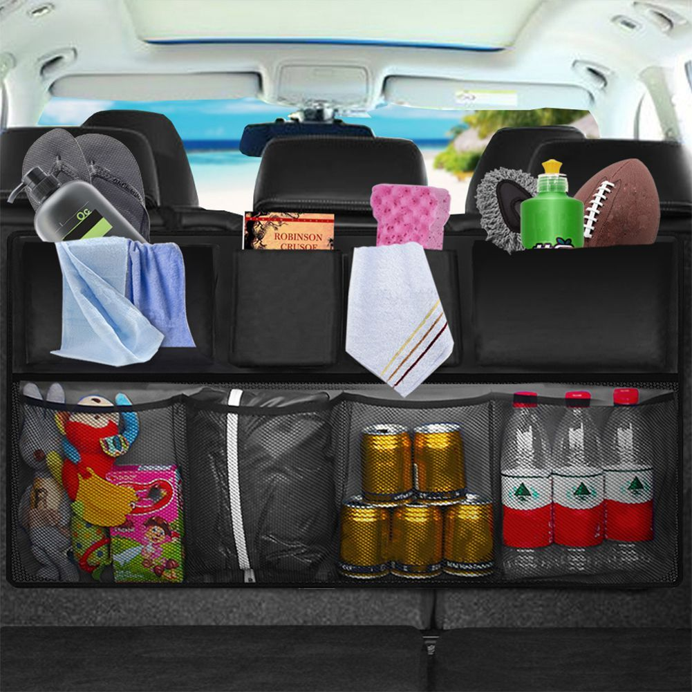 Car Rear Seat Back Storage Bag Multi Hanging Nets Pocket Trunk Bag Organizer Auto Stowing Tidying Interior Accessories Supplie