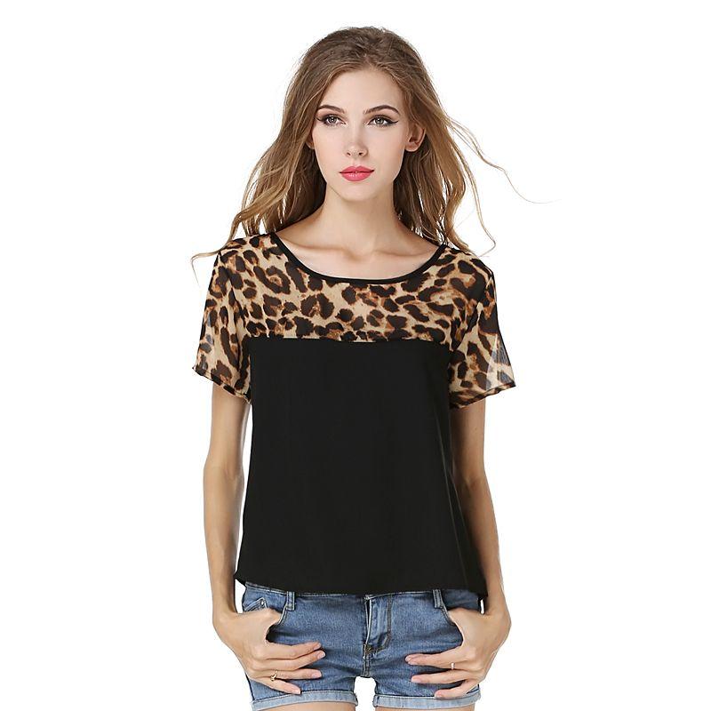 Новый Лидер продаж модные, пикантные женские Блузка Лето Leopard короткий рукав шифон черный, белый цвет рубашка для женщин размер S-2XL