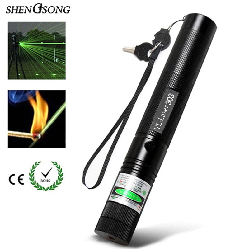10000 Meters! Long distance 532nm Green YL 303 Laser Sight Powerful Adjustable Laser Pointer 18650 Battery+Charger
