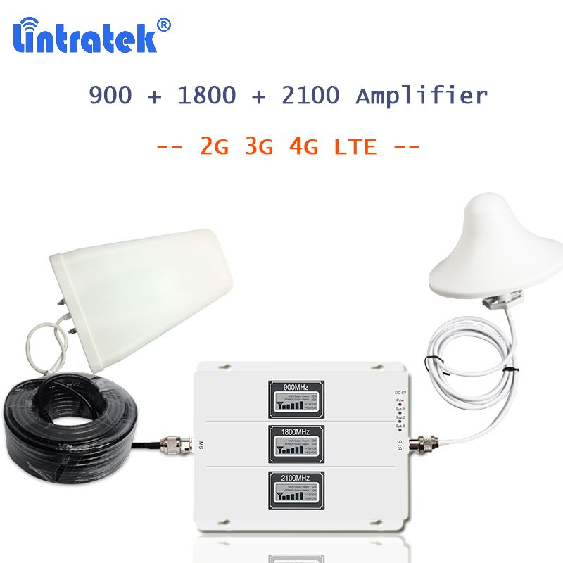 Lintratek cellphone 4g signal booster 900 1800 2100 MHz with 3g 4g antenna LCD display AGC amplificador gsm 2g 3g 4g 20l-gdw S55
