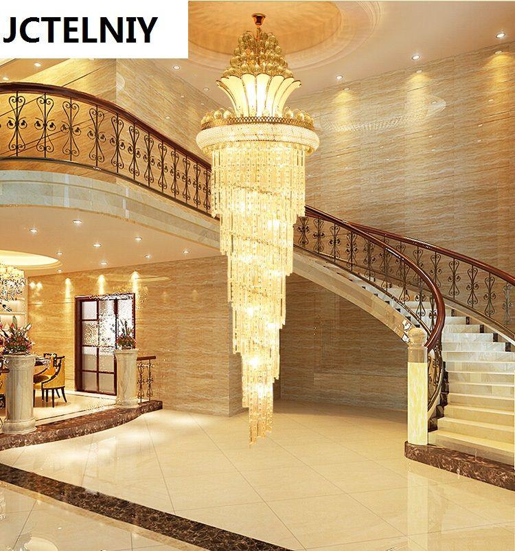 Hybrid-treppen kristall lange lampe s gold wohnzimmer pendelleuchte led lobby lampe große pendelleuchte
