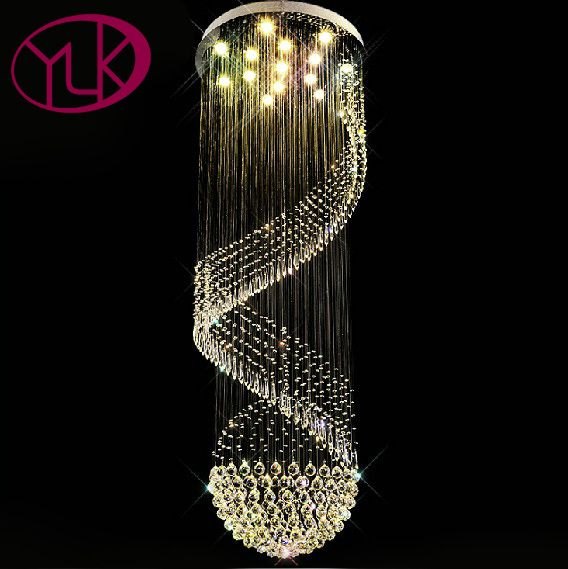 Youlaike Modern Crystal Chandelier For Stair Spiral Design LED Crystal Lamp Luxury Hanging Indoor Hallway Lighting Fixture