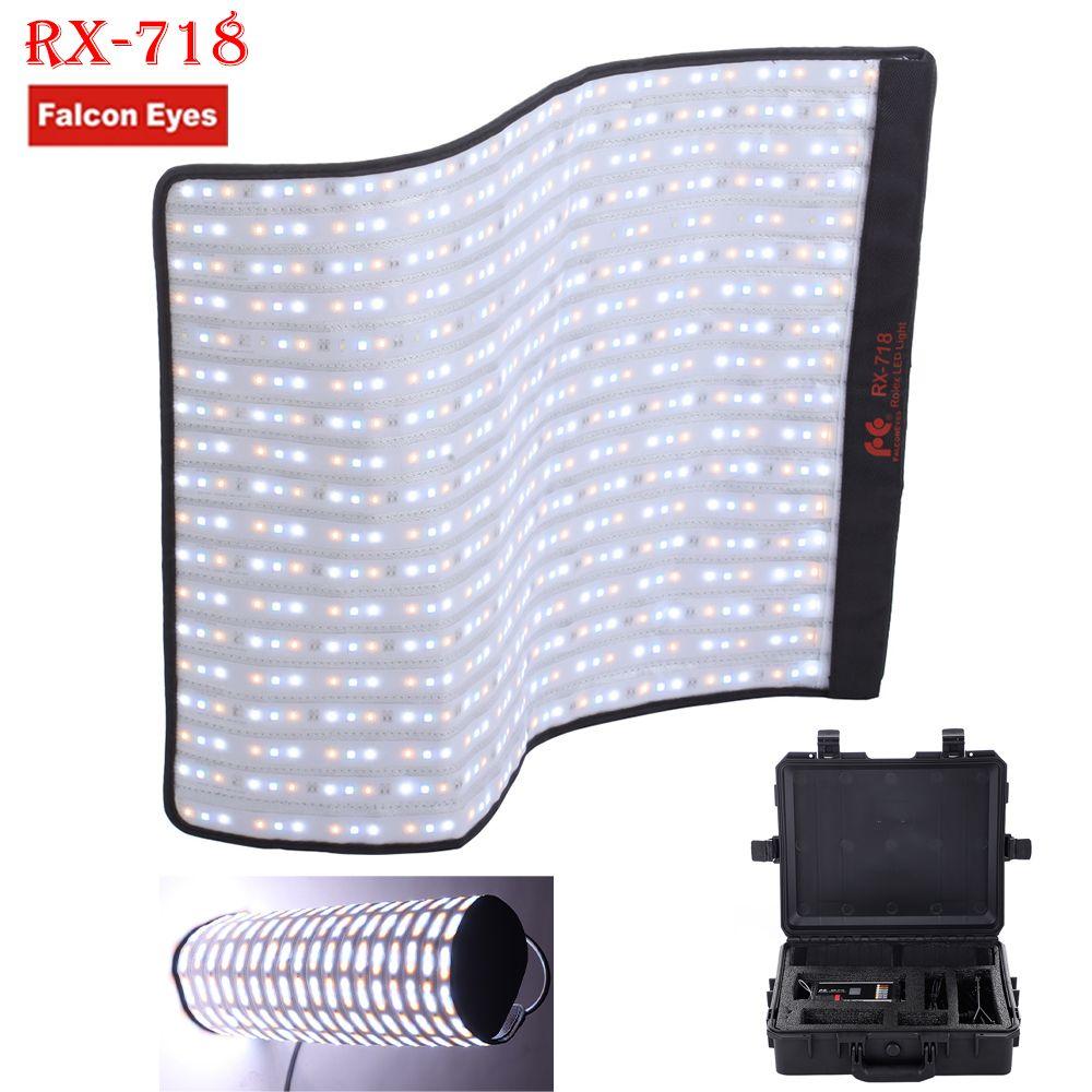 Falconeyes Roll-Flex Series RX-718 100W RGB 2700-9999K Portable LED Photo Light with DMX 648pcs Flexible Photography Safety Box