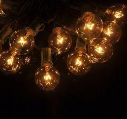 25Ft G40 25 Bola String Lampu Luar Ruangan Vintage Lampu Dunia Patio Taman Pesta Halaman Natal Dekorasi Lampu Rantai Tali