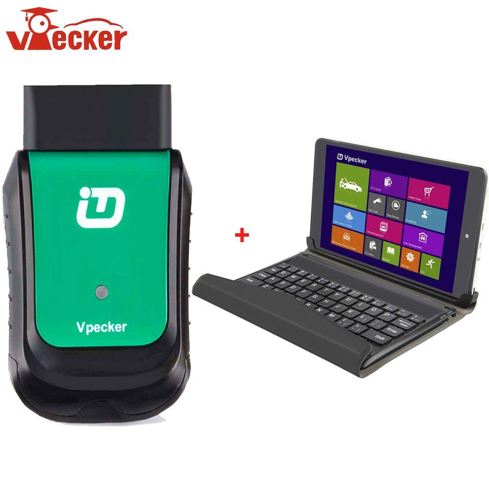 VPECKER Easydiag V10.4 WiFi Professional OBD OBD2 Automotive Scanner Diagnostic Tool+8 inch Windows 10 VPECKER Tablet ODB 2 Tool