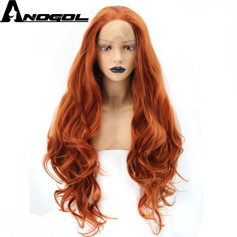 Anogol High Temperature Fiber Free Part Orange Natural Long Body Wave Copper Red Synthetic Lace Front Wig For White Women