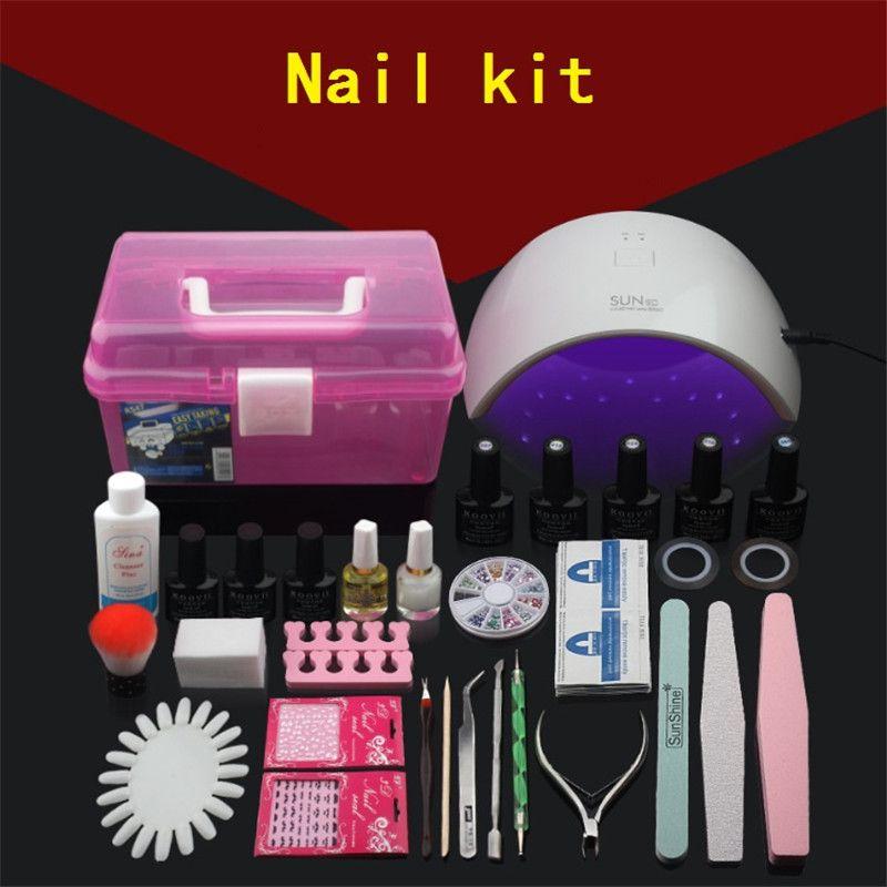 Professional UV Gel Nail Polish Set Nail box Set Tool Nails LED UV Lamp Nail Art Manicure Set Gel Lacquer Soak Off Gel Polish