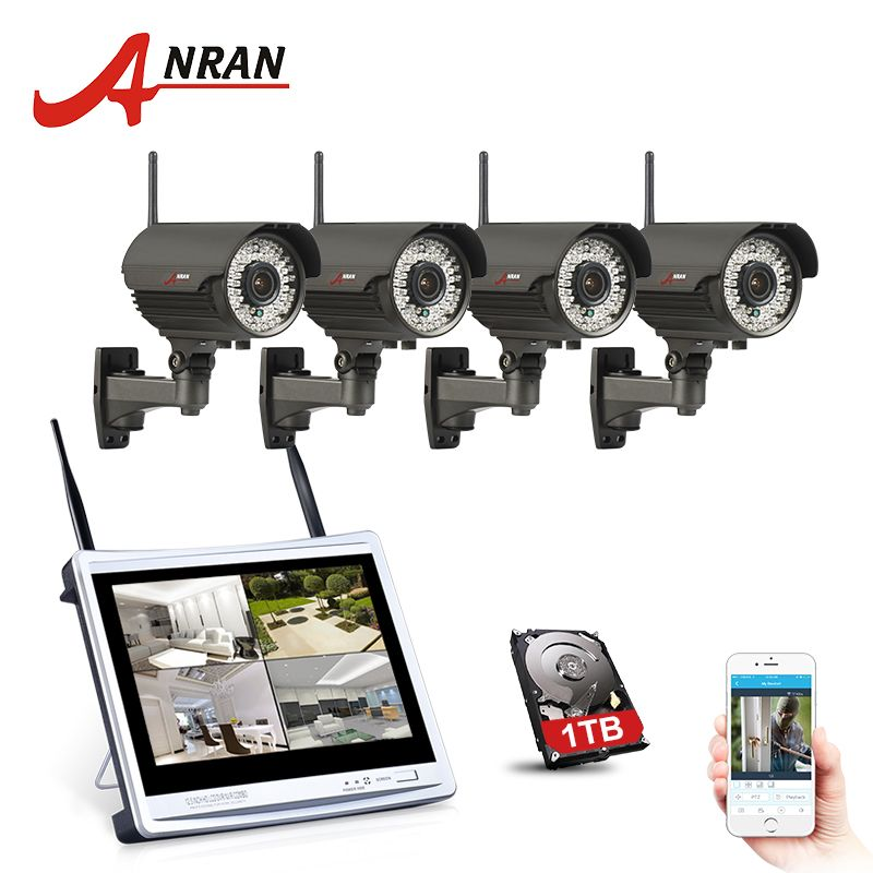 ANRAN 4CH 12 LCD NVR Wireless Security Camera System 960P HD Varifocal 2.8mm-12mm Outdoor IR WIFI Surveillance Camera Kit