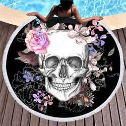 Femmes Grande Serviette De Bain pour la Plage Épais Rond 3d Sucre crâne Imprimé Serviette De Plage Tissu Rapide Comprimé Serviette Tapisserie De Yoga tapis