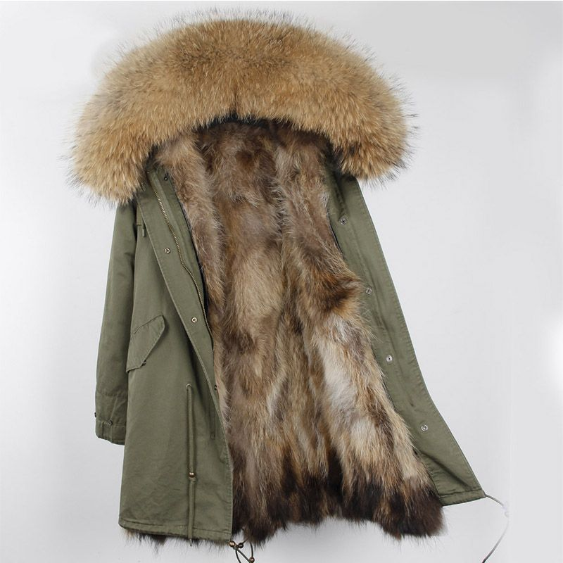 women outerwear thick parkas with natural real raccoon fur collar long coat hooded genuine fur lining inside Russia cold winter