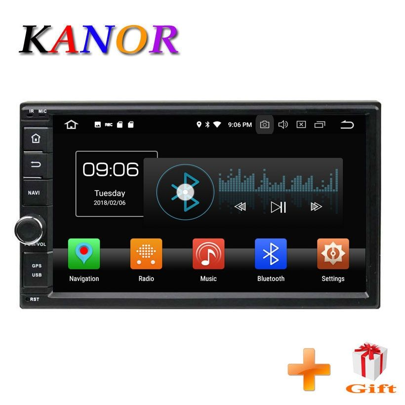 KANOR Android 8.0 Octa Core 7inch 4+32g Double 2 din Car Radio With DSP Bluetooth Stereo SatNav WIFI Multimedia SWC Map Headunit