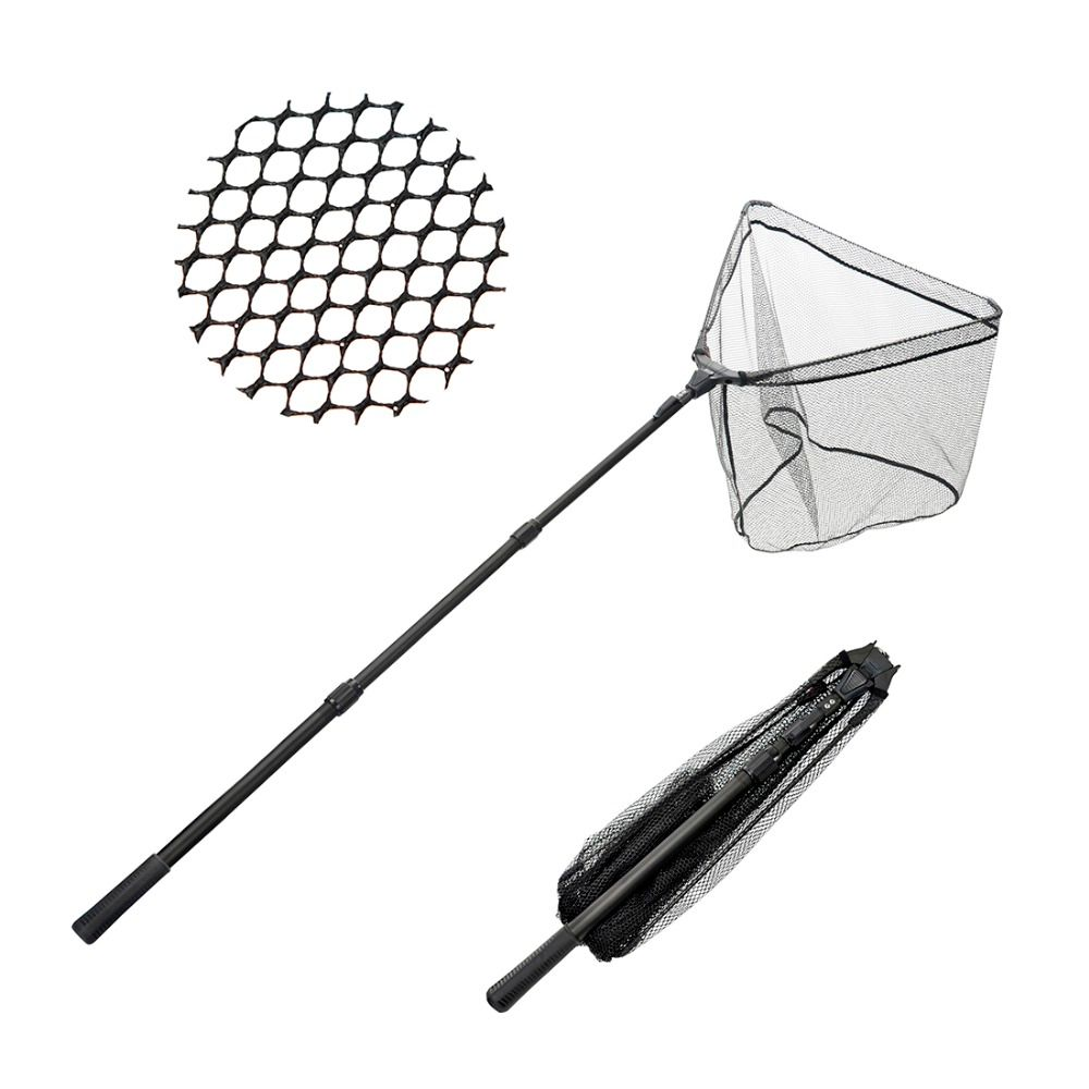 FISHINGSIR Folding Fishing Net Retractable Telescoping Aluminum Alloy Pole Super Large Folding Landing Net