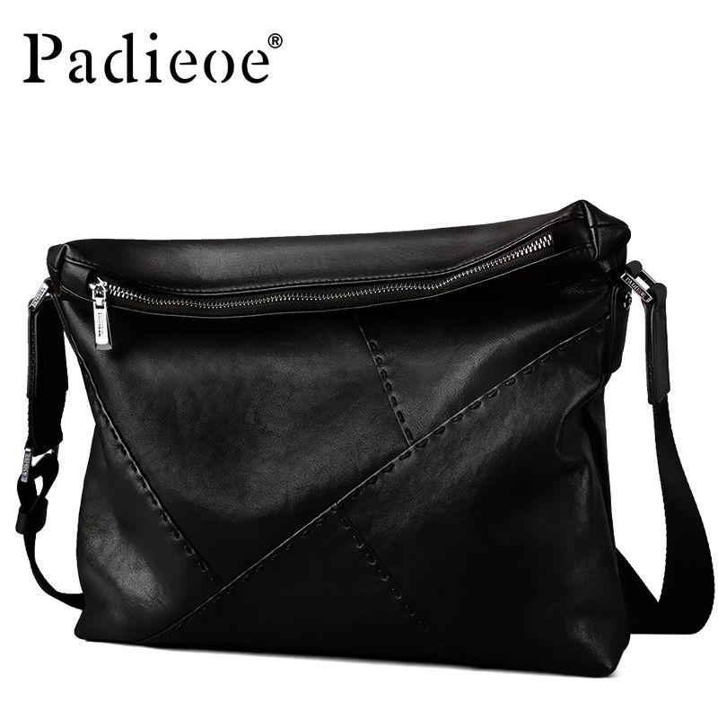 Padieoe Luxury Brand Men Genuine Leather Shoulder Messenger Bags Black Male Handbags Business Man Crossbody Sling Crossbody Bag