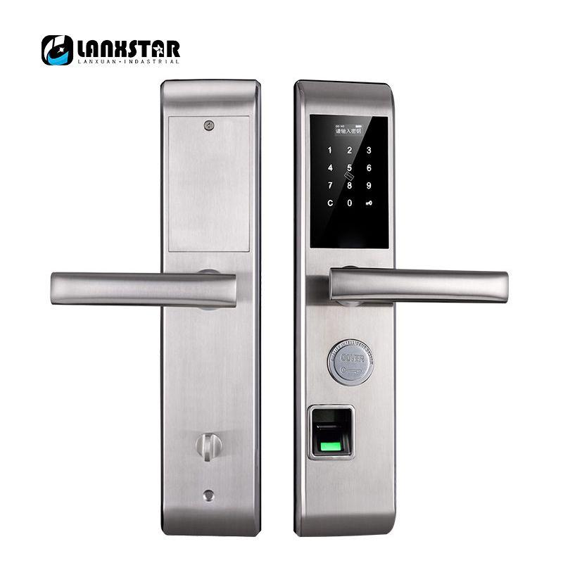 Lanxstar новый пароль отпечатков пальцев RFID карты ключи мобильное приложение 5 в 1 smart lock бытовой Anti-theft двери голос интеллектуальная блокировка