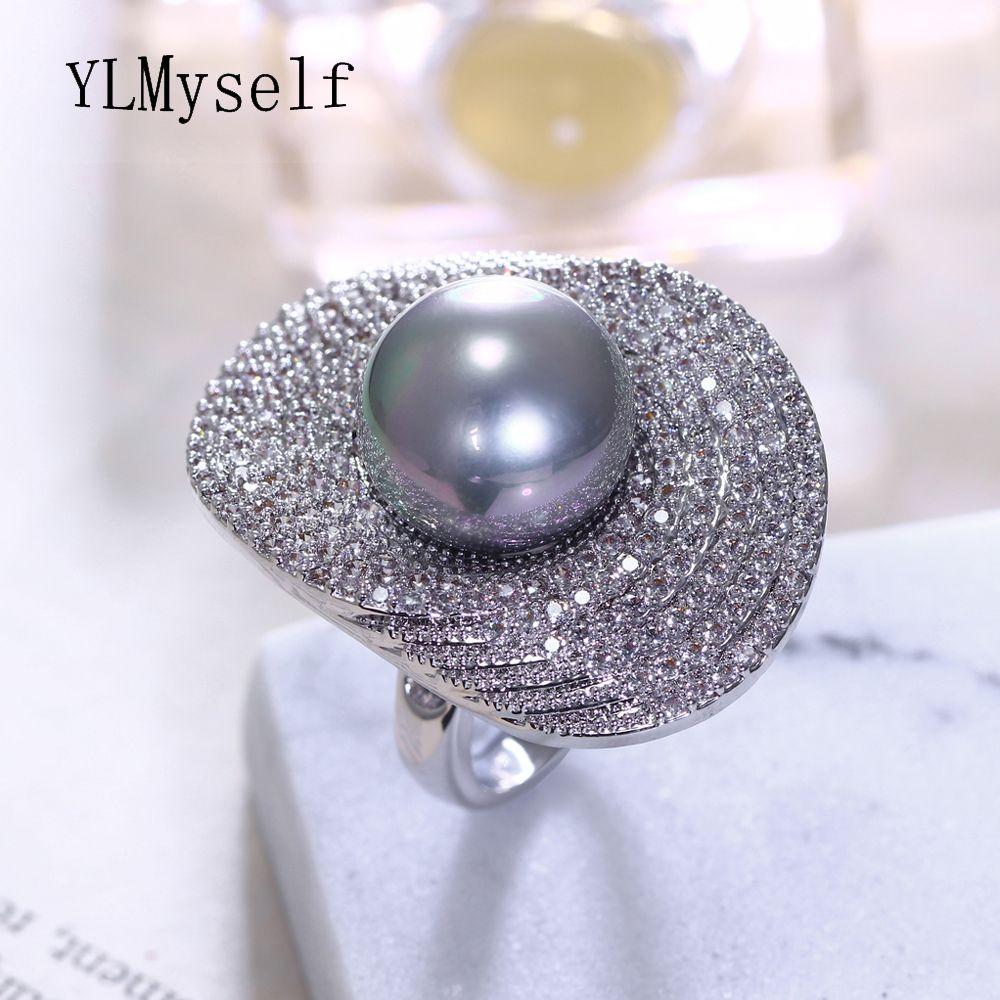 2019 nouveaux anneaux avec 5 couleurs 14 mm coquille perle pour femmes dames en gros bijoux fleur Lotus feuille mode cristal grand anneau