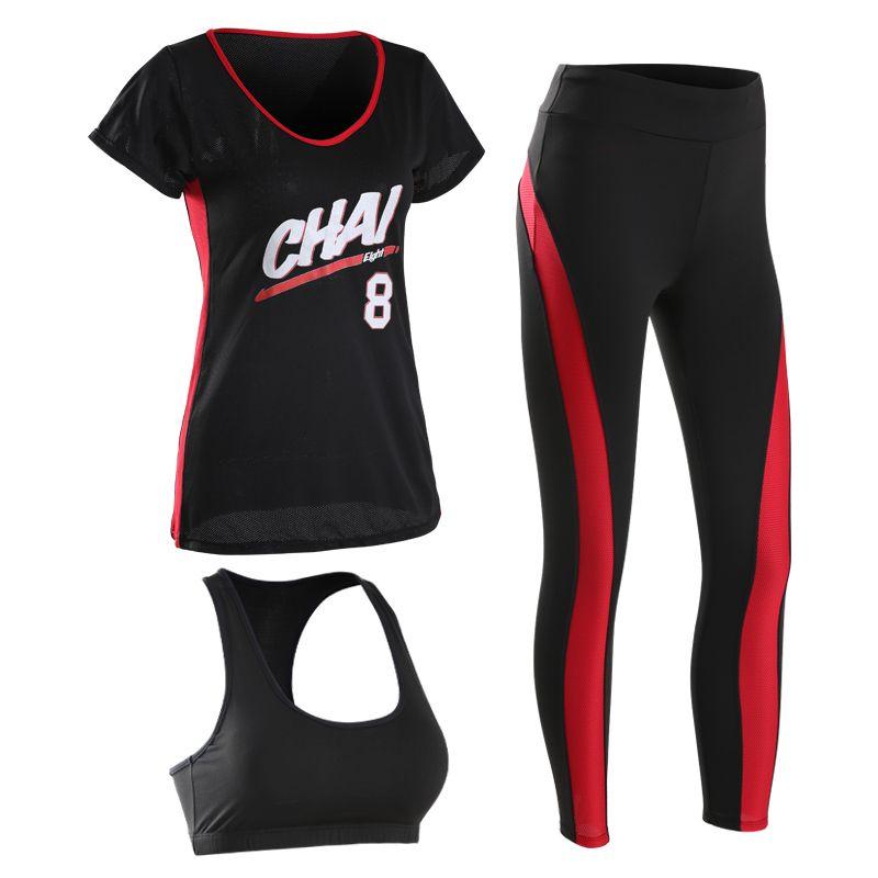 Neue Frauen Yoga Set Sportbekleidung Für Fitness frauen t-shirt + Blauen Strumpfhosen + Bh 3 Stück Spandex lauf Gym Sport Anzug Q7108