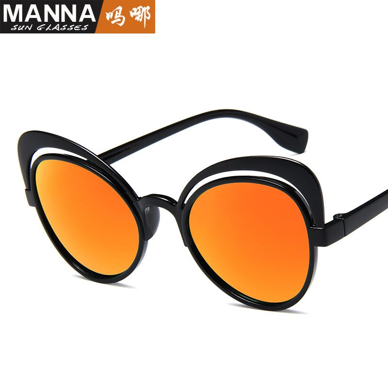 European and American sunglasses new butterfly sunglasses fashion personality hollow cat's eye street sunglasses
