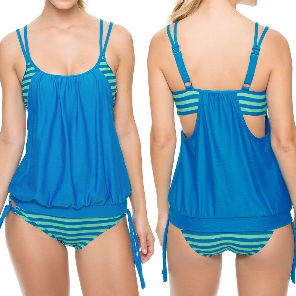 2017 bademode Frauen Sexy Bikinis Multicolour Stripes Doppel UpTankini Swimsuit Swimwear Padded Badeanzüge Schwimmen Monokini