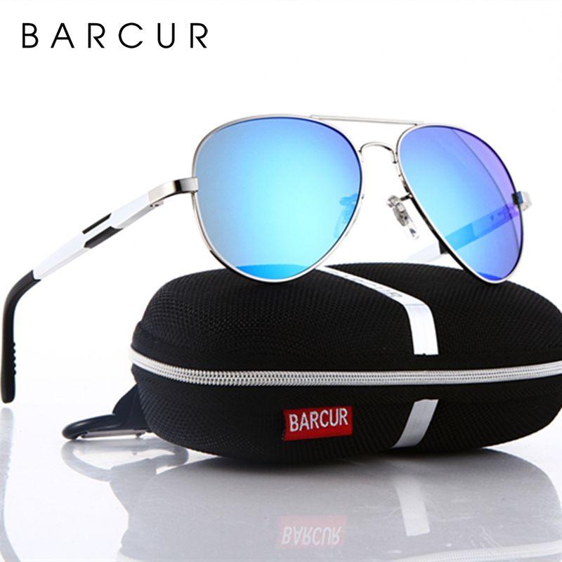 BARCUR aluminium magnésium lunettes de soleil polarisées hommes conduite miroir lunettes de soleil mâle