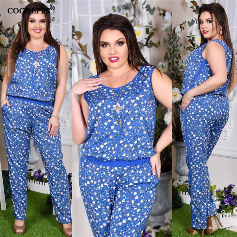 5XL 6XL Plus Size Women Jumpsuit Summer <font><b>Flowe</b></font> print 2018 Sleeveless Rompers Big Large Size Jumpsuit Casual Long Jumpsuits blue