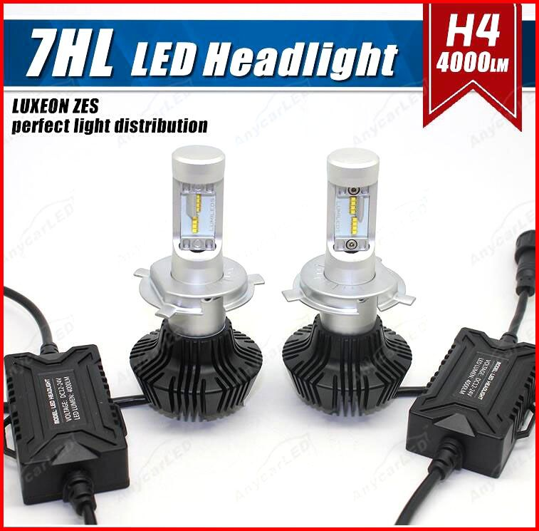 1 Set H4 HB2 9003 50W 8000LM G7 LED Headlight Ki LUMILED LUXEON ZES 32LED SMD Chip Fanless 6500K Pure White Hi/Low Beam Driving