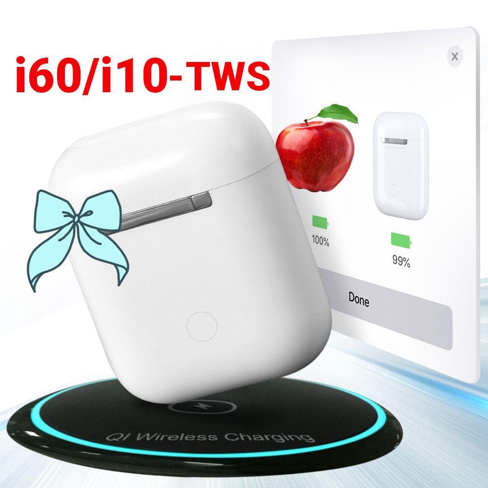 Pop Up i60 TWS i10 TWS Support QI Wireless Charging Wireless Bluetooth Earphone 1:1 Size Separate Use PK i30 i20 i12 TWS LK TE9