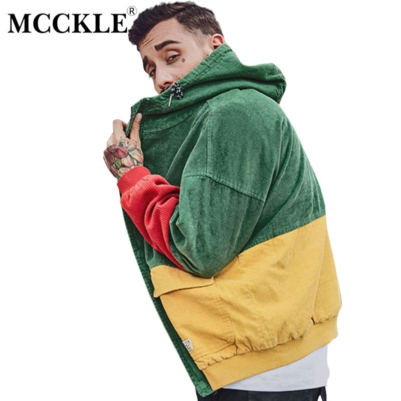 MCCKLE Autumn Color Block Patchwork Corduroy Hooded Jackets Men Hip Hop Hoodies Coats Male 2017 Casual Streetwear Outerwear