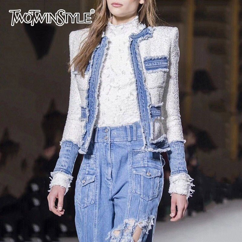 TWOTWINSTYLE Patchwork Denim Jacket For Women O Neck Long Sleeve Short Coat Female Jackets Autumn Fashion Clothing New 2018