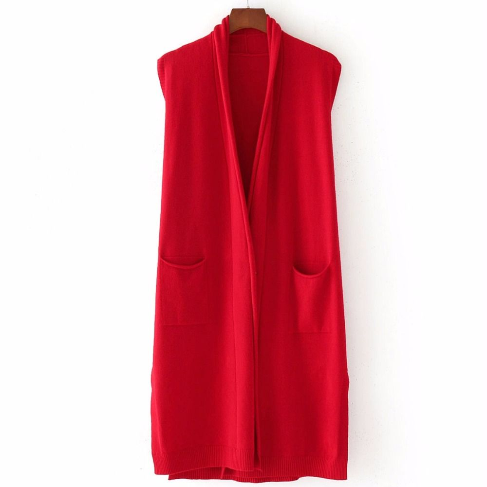 2018 Autumn Winter Women Solid Belt Sleeveless Vest Long Sweater Lady Fall Fashion Slim Double Pockets Knitted Cardigans 5color