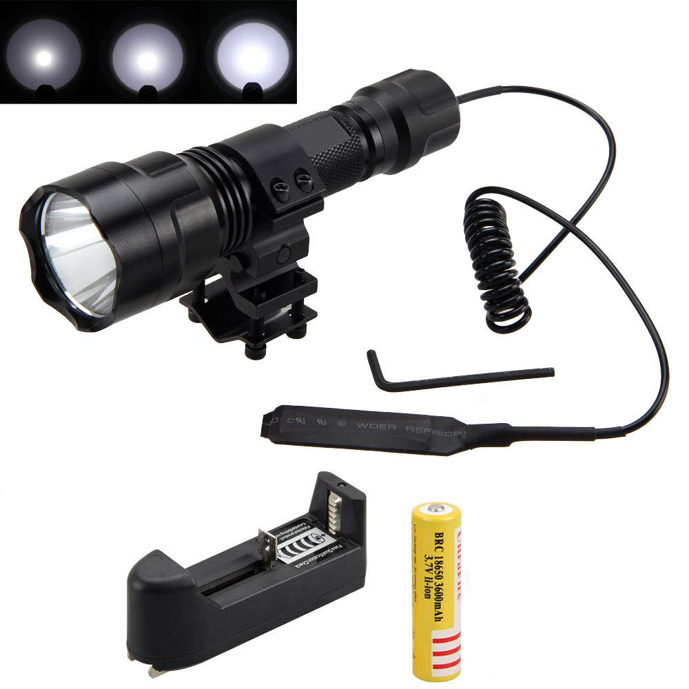 Tactical 2500lm XML T6 LED Flashlight Hunting Light Torch+ Mount +Pressure Switch+Battery+Charger
