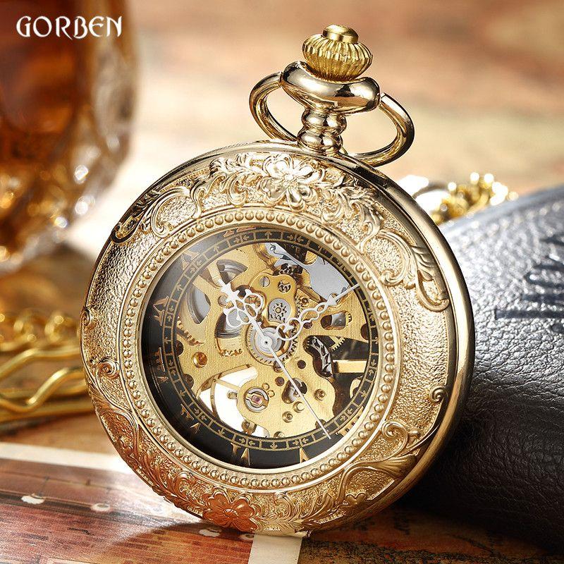 Luxus Retro Goldene Hohle Skeleton Mechanische Taschenuhr Herren Fob Kette Stahl Exquisite Skulptur Frauen Männer Tasche Wath Gifs