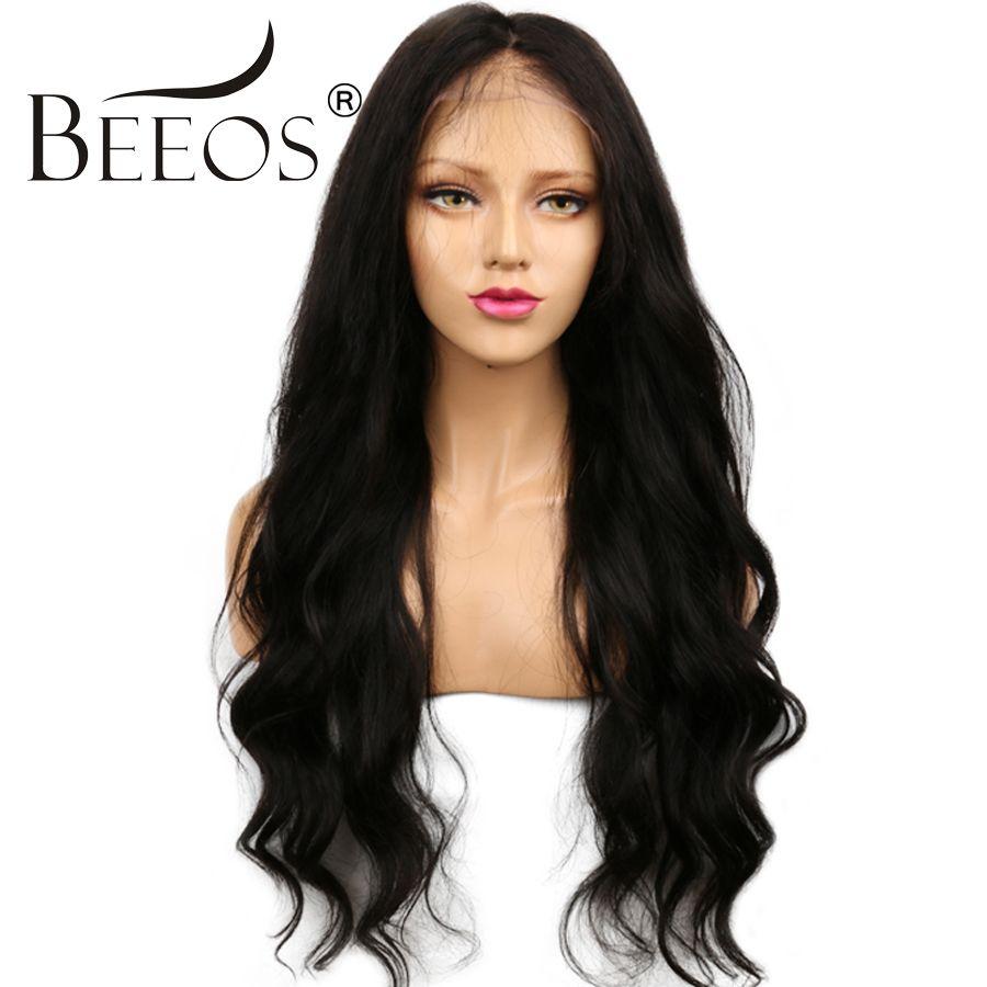 Beeos 150 плотность Человеческие волосы Синтетические волосы на кружеве Искусственные парики Черный Для женщин Средства ухода за кожей волна В...