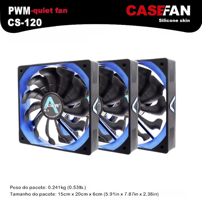 ALSEYE Computer fan (3pieces/lot) 120mm Fan Cooler DC 12v PWM 4pin Silicone Silent Fan for PC Case / CPU Cooler
