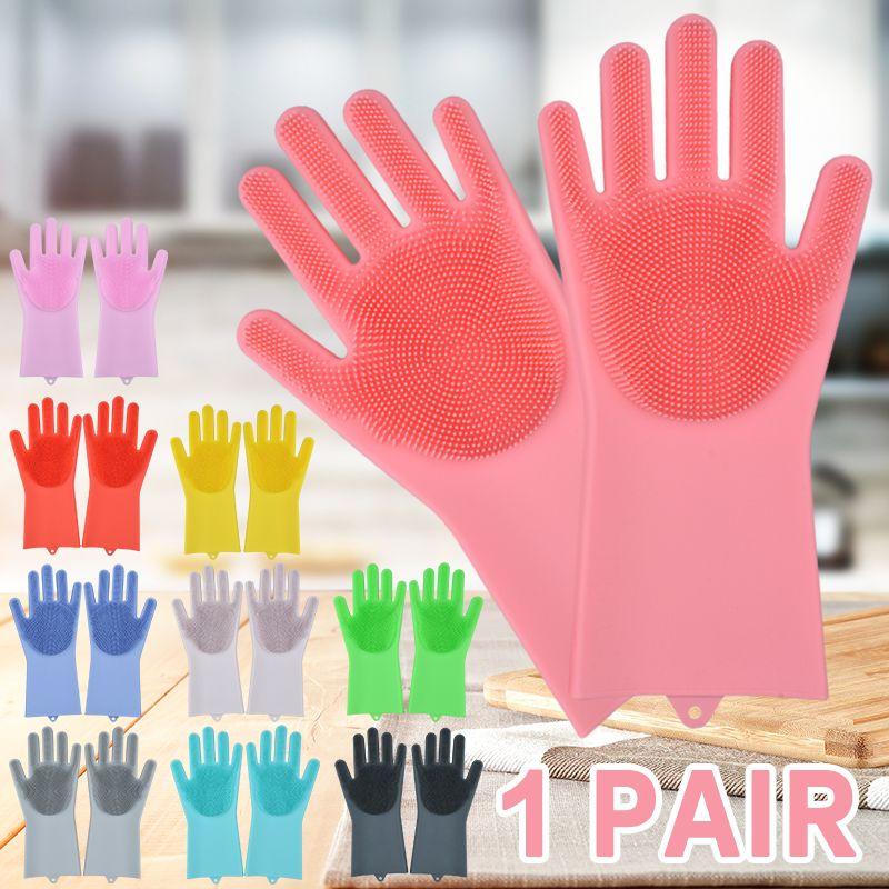 Silicone Dishwashing Gloves Bathroom Kitchen Cleaning Gloves Household Magic Gloves Cleaning For House Insulation Tools