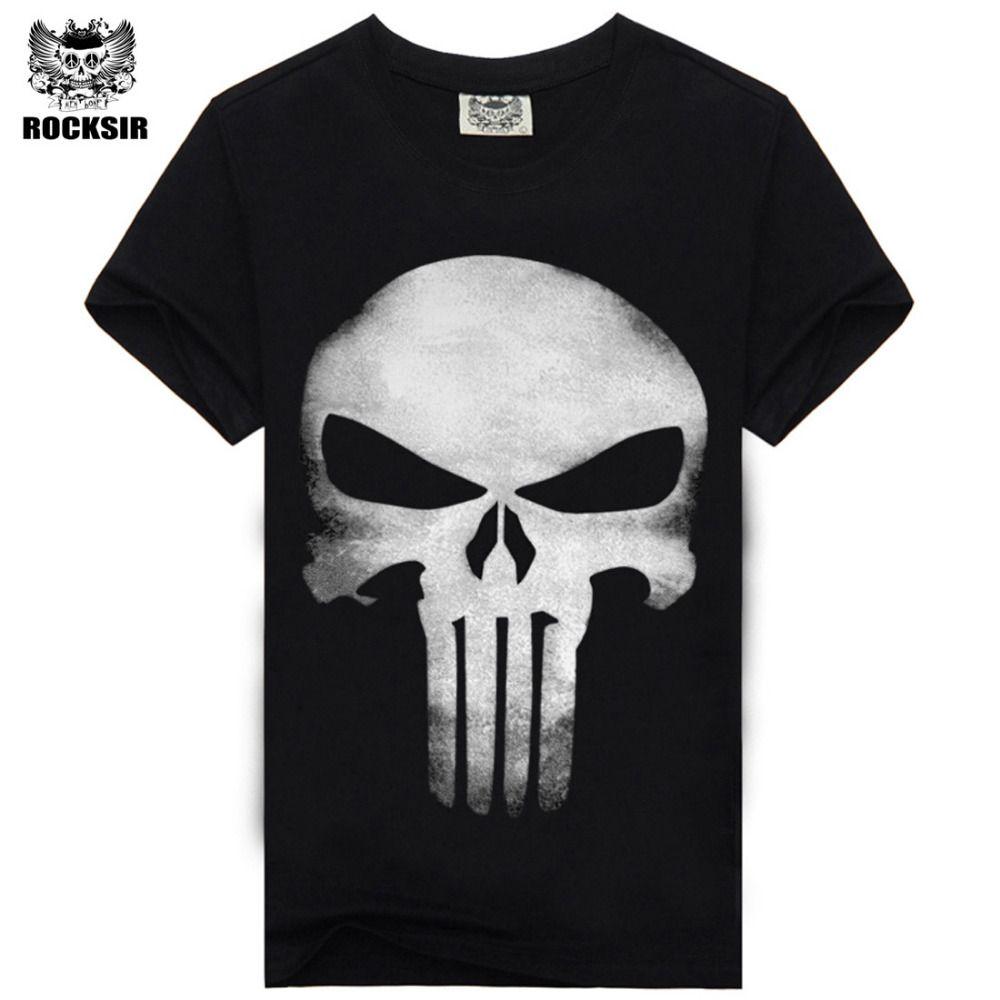 Rocksir punisher t chemises pour hommes t-shirt Coton de mode marque t shirt hommes Casual Manches Courtes le punisher T-shirt hommes