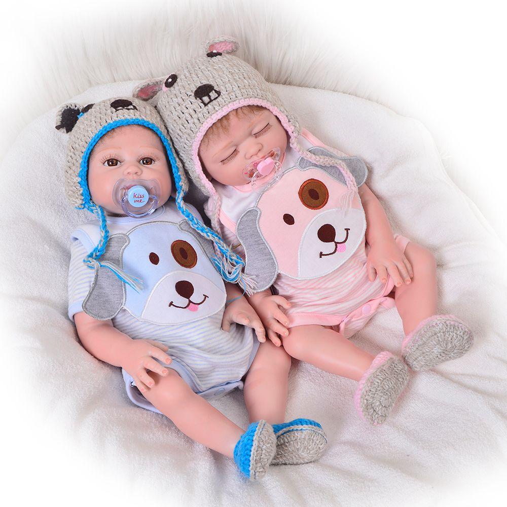 Newborn Doll 20 Inch Reborn Twins Doll Realistic Full Body Silicone 50cm Sleeping Girl And Awake Boy Baby Toy Doll Kid Xmas Gift