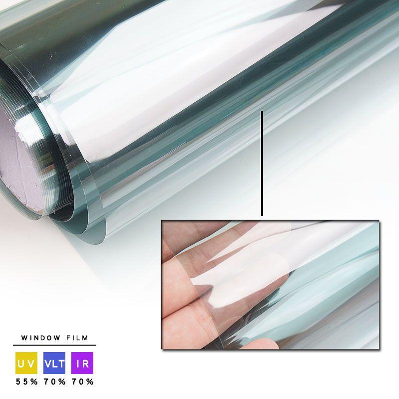 70% VLT Car Front Tint Solar Film! Light Blue 76x300cm roll Side Windshield Workable.