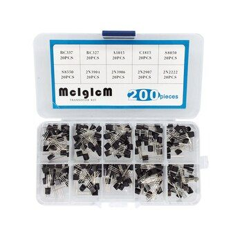 BC337 BC327 2N2222 2N2907 2N3904 2N3906 S8050 S8550 A1015 C1815 Transistor Assortiment Kit 10 valeur 200 PCS, Transistors Boîte Pack