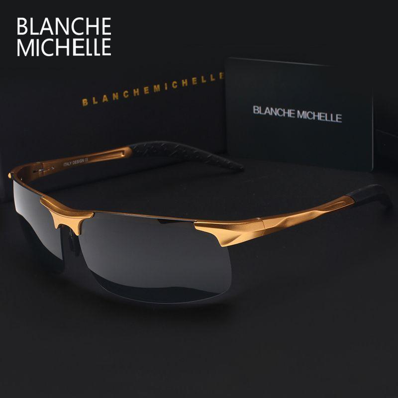 High Quality Ultra-light Aluminum Magnesium Sports Sunglasses Polarized Men UV400 Rectangle <font><b>Gold</b></font> Outdoor Drive Sun Glasses