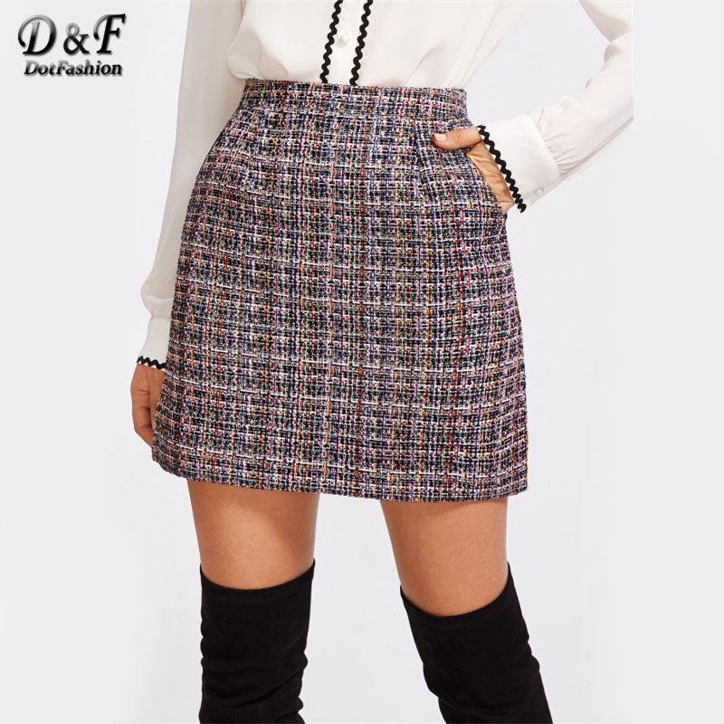 Dotfashion Zip Back Tweed Winter Skirt Women 2017 New <font><b>Arrival</b></font> Multi Plaid Cute Bottoms For Ladies A Line Short Skirt