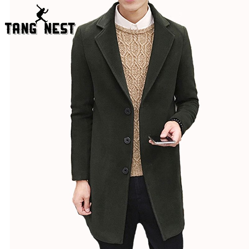TANGNEST Autumn Winter Coat Men 2017 New Arrival Casual Fashion Long Trench Coat Male 8 Solid Colors Slim Handsome Jacket MWF291