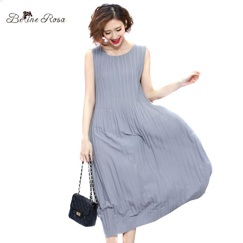 BelineRosa Women's Summer Dresses 2017 Pure Color Casual Women Draped Dress Sleeveless Plus Size Dresses for Women QY00001
