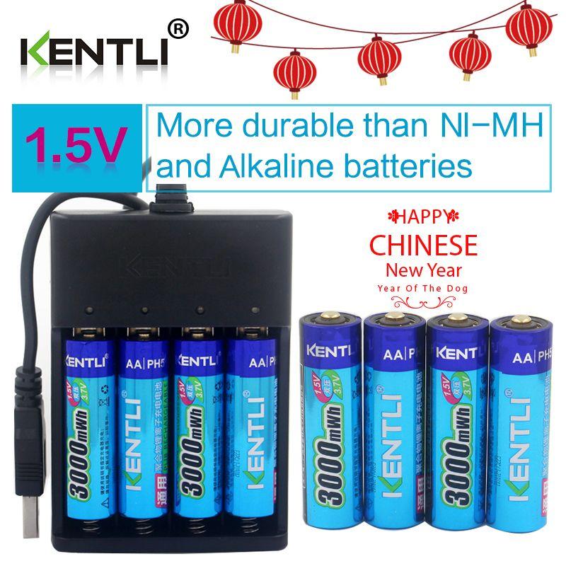 KENTLI 8pcs 1.5v 3000mWh AA rechargeable Li-polymer li-ion polymer lithium battery + 4 slots USB smart Charger