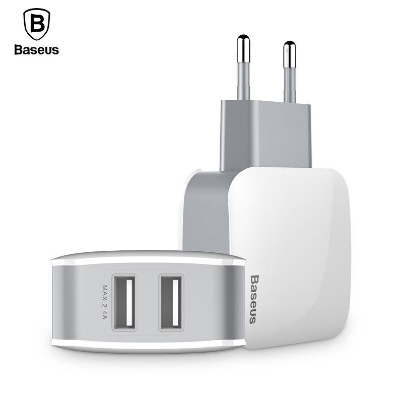 Baseus Double USB Chargeur Pour iPhone Samsung Voyage 2.4A Mur USB Chargeur Adaptateur Mobile Téléphone Chargeur Pour Smartphoner US EU plug