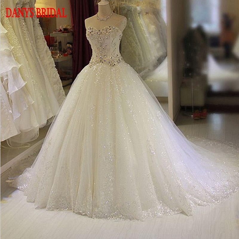 Vestidos de Novia de lujo vestido de Bola de Cristal Con Cuentas de Tulle Del Amor Del Vestido De Boda Chino Weeding Nupcial Vestidos de Novia Weddingdress