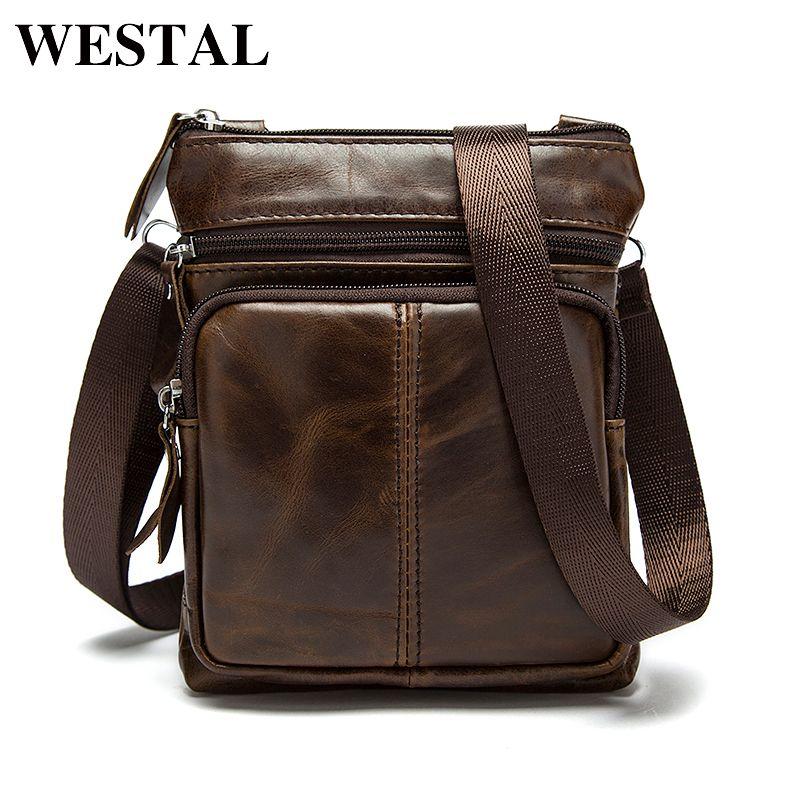 WESTAL D'épaule de sac messager hommes sac en cuir Véritable sacs en cuirs Rabat Petit mâle sacs à bandoulière homme pour hommes naturel M701