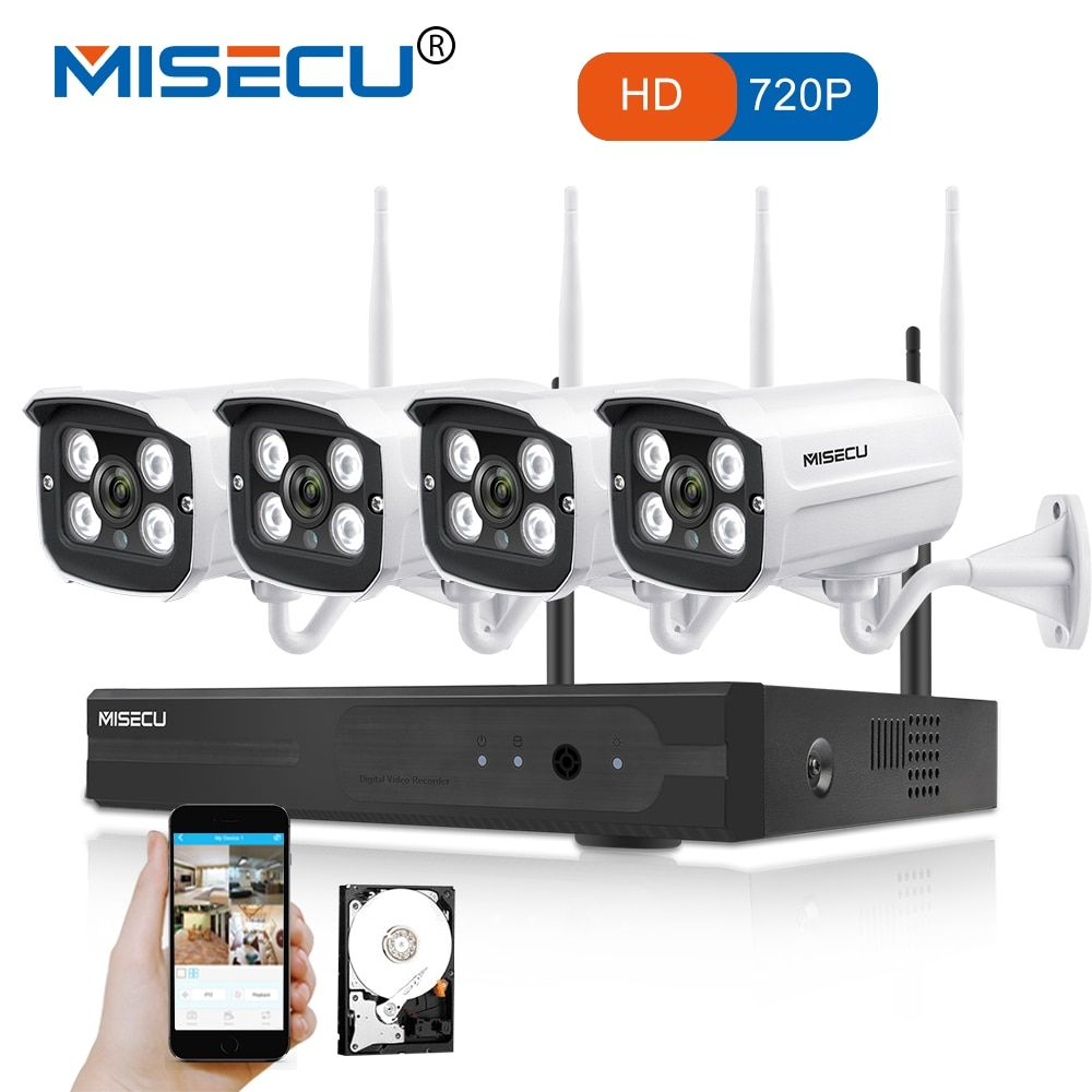MISECU Easy installation plug play 2.4G wifi KIT 720P 1080P VGA/HDMI 4CH NVR Wireless P2P 720p WIFI IP Camera Waterproof CCTV